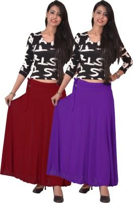Ace Solid Women's A-line Maroon, Purple Skirt