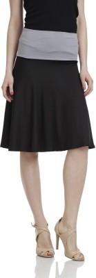 James Scot Solid Women's A-line Black Skirt