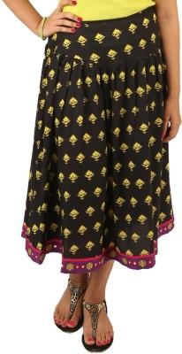 INDRICKA Printed Women's Straight Black Skirt