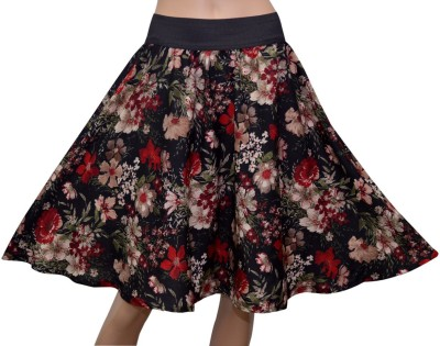 GraceDiva Floral Print Womens Gathered Black Skirt