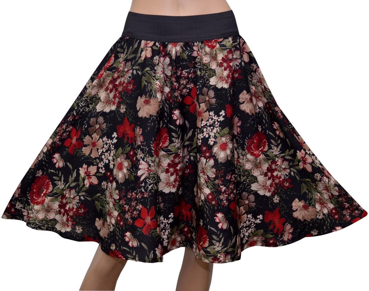 GraceDiva Floral Print Womens Gathered Black Skirt