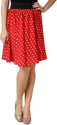 Mojeska Printed Women's A-line Red Skirt