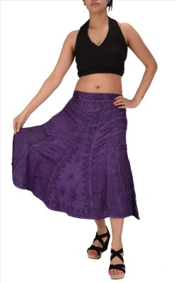 Skirts & Scarves Embroidered Women's A-line Purple Skirt
