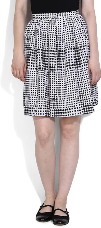 United Colors of Benetton Printed Women's Gathered White, Black Skirt