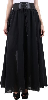 Raabta Fashion Solid Women's Regular Black Skirt