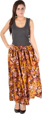 Gwyn Lingerie Floral Print Women's Gathered Multicolor Skirt