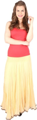 Grand Store Solid Women's Gathered Beige Skirt