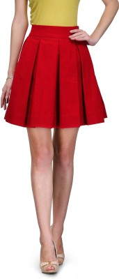 Xoxo Solid Women,s Pleated Red Skirt