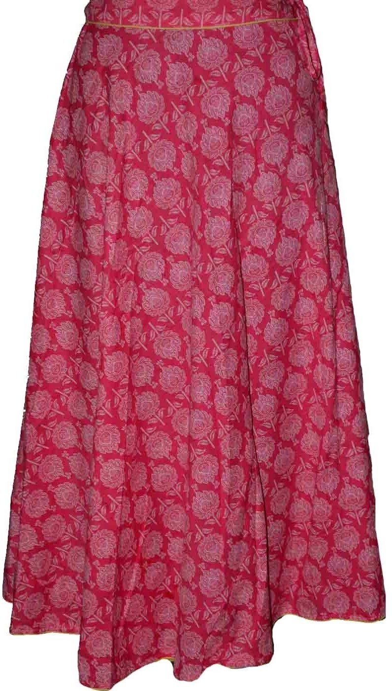 Alicolours Printed Womens Broomstick Maroon Skirt