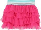 Eimoie Solid Girls Layered Pink Skirt