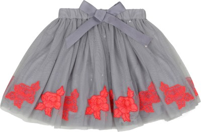 Teeny Tantrums Embroidered Girl's Layered Grey Skirt