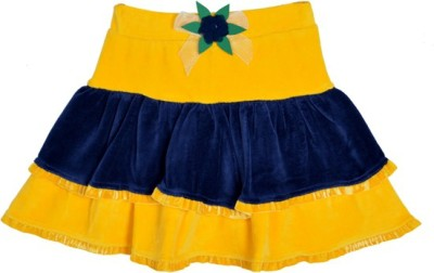 Lil Orchids Solid Girl's Tiered Yellow Skirt