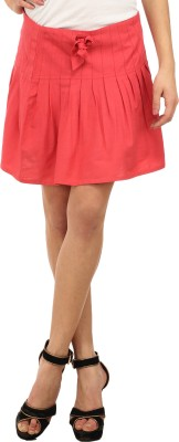 Ladybug Solid Women's Pleated Pink Skirt