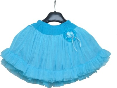 Little Leaf Self Design Girl's Gathered Blue Skirt