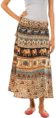 Fashiana Animal Print Women's Wrap Around Blue, Brown Skirt