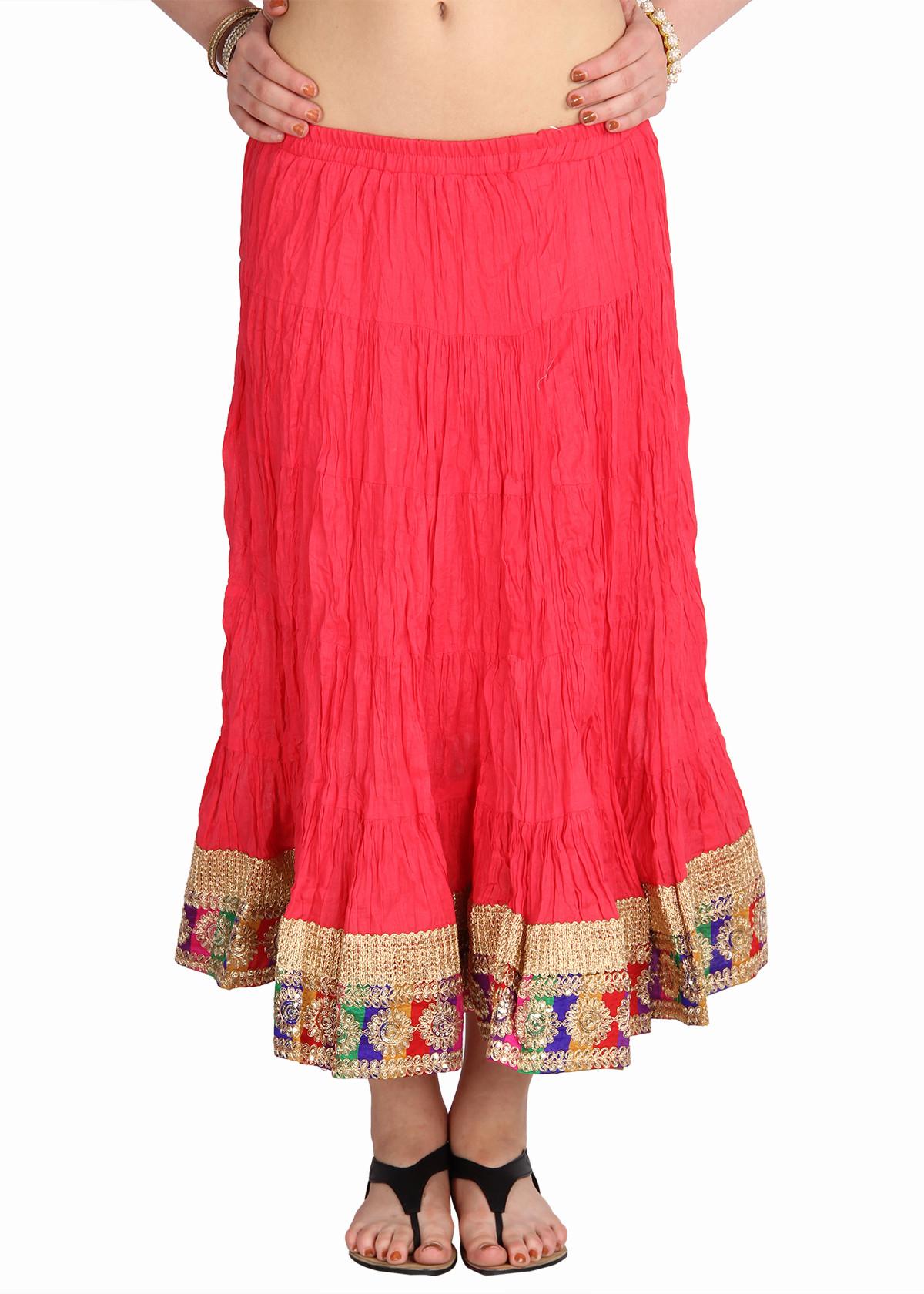 Mina Bazaar Self Design Womens A-line Red, Gold Skirt