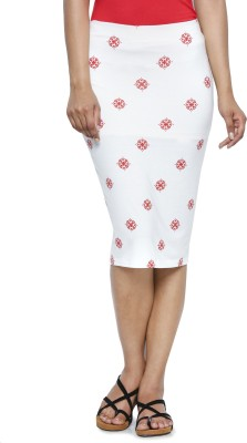 Five Stones Printed Women's Pencil Red, White Skirt