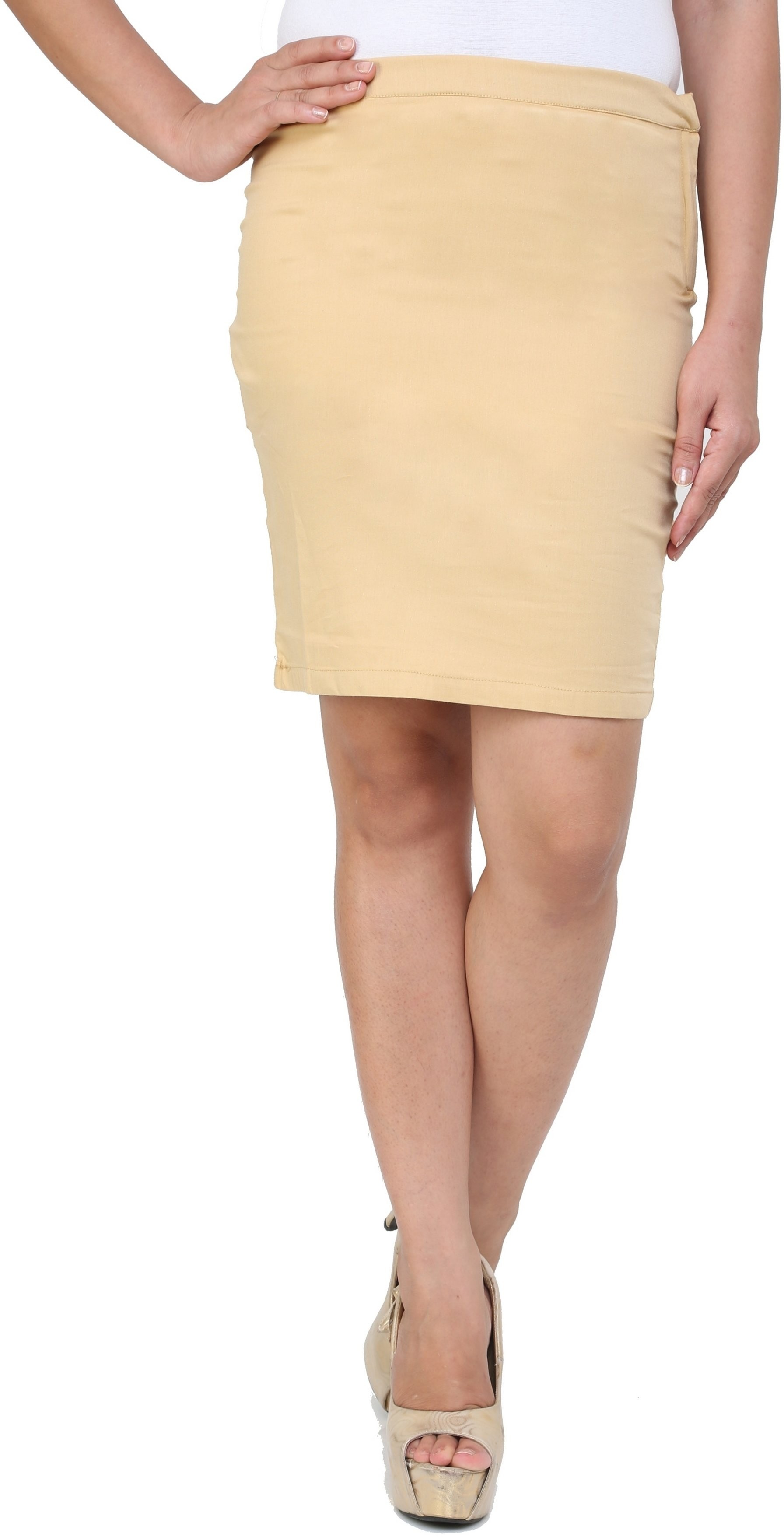 Cottinfab Solid Womens A-line Beige Skirt
