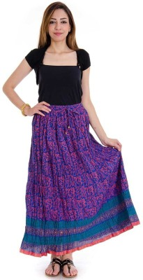 Sunshine Printed Women's Regular Blue Skirt