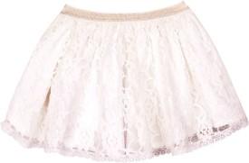 ShopperTree Solid Baby Girl's Regular White Skirt