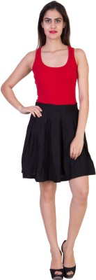Curvyy Solid Girl's Pleated Black Skirt