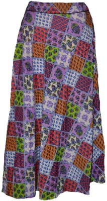 Alicolours Printed Women's Broomstick Multicolor Skirt