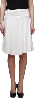 Legis Solid Women's Regular White Skirt