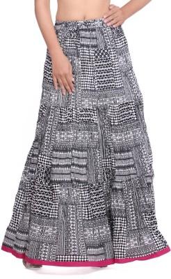 Geroo Printed Women,s Regular Black, White Skirt