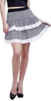 Peptrends Printed Women's Layered Black Skirt