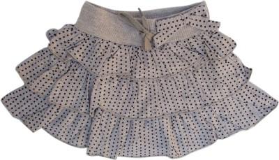 Garlynn Polka Print Girl's Layered Grey Skirt