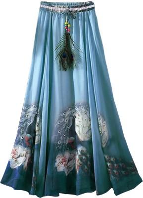 Jassu Fashion Hub Printed Women,s Regular Light Blue Skirt