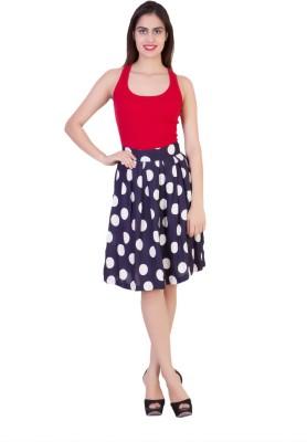 Curvyy Polka Print Girl's Regular Blue Skirt