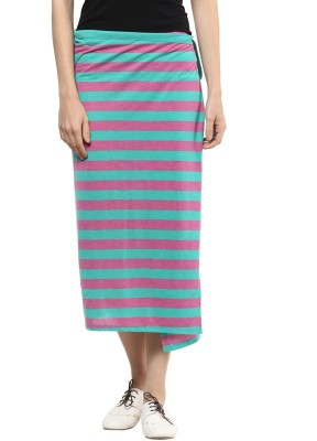 T-shirt Company Striped Women's Straight Pink, Green Skirt