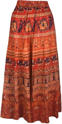 Shopatplaces Printed Women's Broomstick Red Skirt
