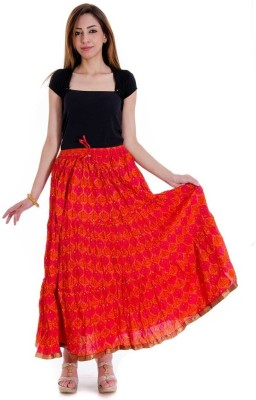 Halowishes Printed Girls Wrap Around Red Skirt