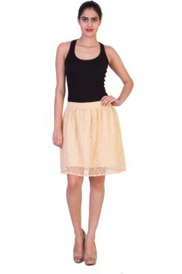 Curvyy Self Design Girl's Regular Beige Skirt