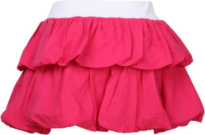 Cool Quotient Self Design Girl's Regular Pink Skirt