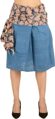 Vritti Solid Women's Regular Blue Skirt