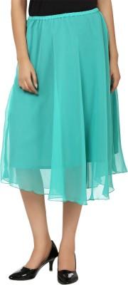 Tops and Tunics Solid Women's Regular Light Green Skirt
