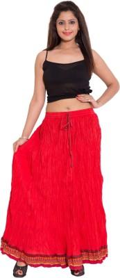 Wardtrobe Solid Women's Regular Red Skirt