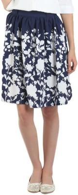 Shopingfever Floral Print Women's A-line Dark Blue Skirt