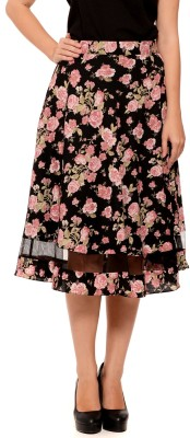 Sugar Her Printed Women's A-line Black Skirt