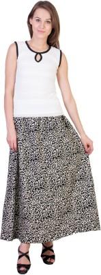 Essential Elements Animal Print Women's Gathered Black Skirt