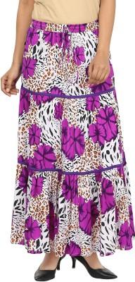 Pops N Pearls Floral Print Women's Broomstick Purple Skirt