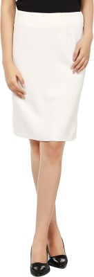 Tops and Tunics Solid Women's Pencil White Skirt