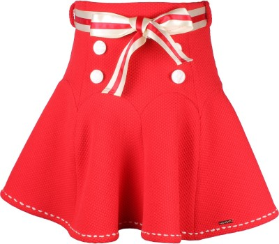 Cutecumber Embellished Girl's A-line Red Skirt