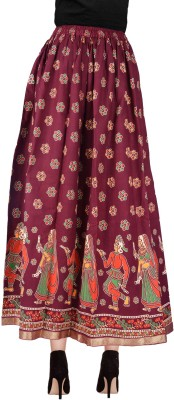 Decot Paradise Printed Women's Regular Maroon Skirt