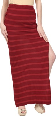 Ruse Striped Women's Straight Maroon, Red Skirt
