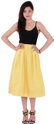 Fashnopolism Solid Women's A-line Yellow Skirt
