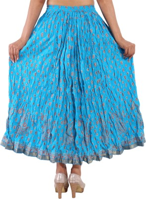 Decot Paradise Printed Women's Regular Blue Skirt